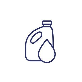 Icône de ligne de bidon avec goutte d'huile