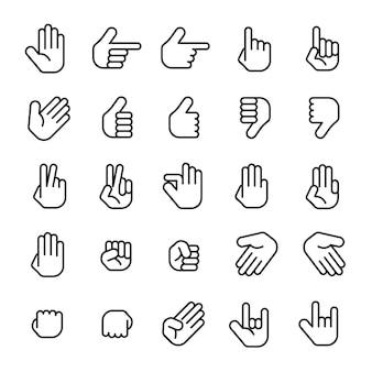 Icône de ligne de collection de mains comptage des mains et icône de geste de la main telle que la ligne mince du poing d'amour