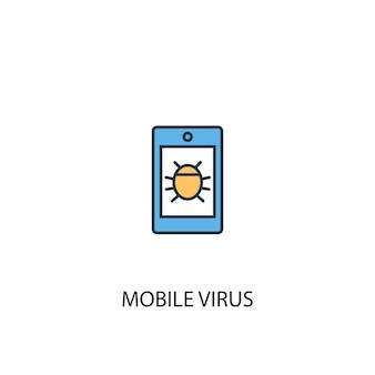 Icône de ligne colorée de concept de virus mobile 2. illustration simple d'élément jaune et bleu. conception de symbole de contour de concept de virus mobile