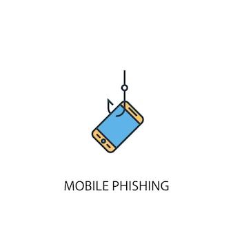 Icône de ligne colorée du concept 2 d'hameçonnage mobile. illustration simple d'élément jaune et bleu. conception de symbole de contour de concept de phishing mobile