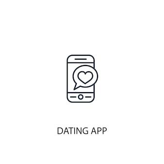 Icône de ligne de concept d'application de rencontres. illustration d'élément simple. conception de symbole de contour de concept d'application de rencontres. peut être utilisé pour l'interface utilisateur/ux web et mobile