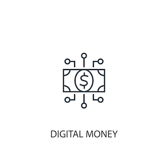 Icône de ligne de concept d'argent numérique. illustration d'élément simple. conception de symbole de contour de concept d'argent numérique. peut être utilisé pour l'interface utilisateur/ux web et mobile