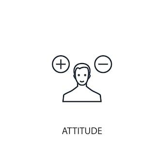 Icône de ligne de concept d'attitude. illustration d'élément simple. conception de symbole de contour de concept d'attitude. peut être utilisé pour l'interface utilisateur/ux web et mobile