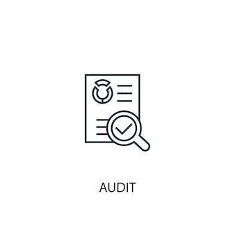 Icône de ligne de concept d'audit. illustration d'élément simple. conception de symbole de contour de concept d'audit. peut être utilisé pour l'interface utilisateur/ux web et mobile