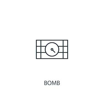 Icône de ligne de concept de bombe. illustration d'élément simple. conception de symbole de contour de concept de bombe. peut être utilisé pour l'interface utilisateur/ux web et mobile