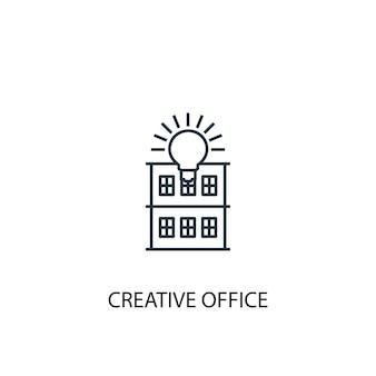 Icône de ligne de concept de bureau créatif. illustration d'élément simple. conception de symbole de contour de concept de bureau créatif. peut être utilisé pour l'interface utilisateur/ux web et mobile