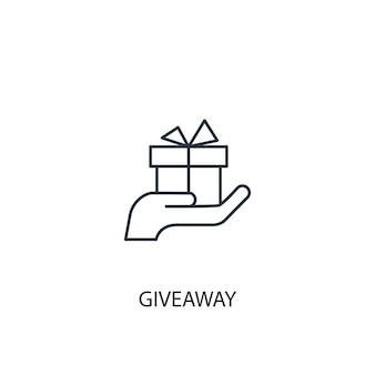 Icône de ligne concept cadeau. illustration d'élément simple. conception de symbole de contour de concept de cadeau. peut être utilisé pour l'interface utilisateur/ux web et mobile