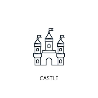 Icône de ligne de concept de château illustration d'élément simple symbole de contour de concept de château