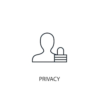 Icône de ligne de concept de confidentialité. illustration d'élément simple. conception de symbole de contour de concept de confidentialité. peut être utilisé pour l'interface utilisateur/ux web et mobile