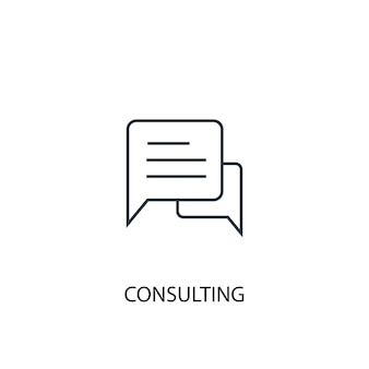 Icône de ligne de concept de consultation. illustration d'élément simple. conception de symbole de contour de concept de conseil. peut être utilisé pour l'interface utilisateur/ux web et mobile