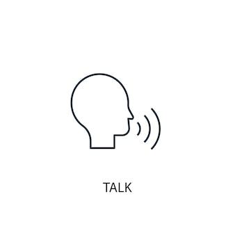 Icône de ligne de concept de conversation. illustration d'élément simple. parler de conception de symbole de contour de concept. peut être utilisé pour l'interface utilisateur/ux web et mobile