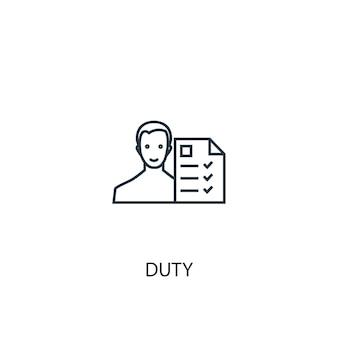 Icône de ligne de concept de devoir. illustration d'élément simple. conception de symbole de contour de concept de devoir. peut être utilisé pour l'interface utilisateur/ux web et mobile