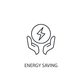 Icône de ligne de concept d'économie d'énergie. illustration d'élément simple. conception de symbole de contour de concept d'économie d'énergie. peut être utilisé pour l'interface utilisateur/ux web et mobile
