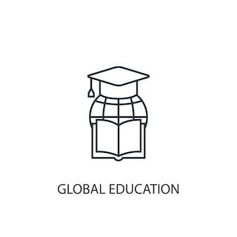 Icône de ligne de concept d'éducation globale. illustration d'élément simple. conception de symbole de contour de concept d'éducation globale. peut être utilisé pour l'interface utilisateur/ux web et mobile