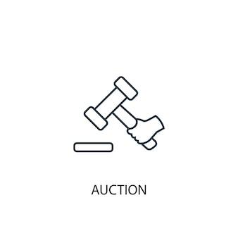 Icône de ligne de concept d'enchères. illustration d'élément simple. conception de symbole de contour de concept d'enchère. peut être utilisé pour l'interface utilisateur/ux web et mobile