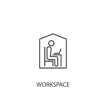 Icône de ligne de concept d'espace de travail. illustration d'élément simple. conception de symbole de contour de concept d'espace de travail. peut être utilisé pour l'interface utilisateur/ux web et mobile