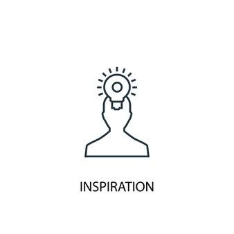 Icône de ligne de concept d'inspiration. illustration d'élément simple. conception de symbole de contour de concept d'inspiration. peut être utilisé pour l'interface utilisateur/ux web et mobile