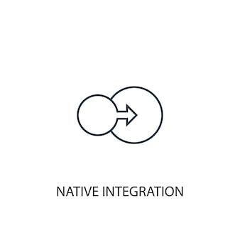 Icône de ligne de concept d'intégration native. illustration d'élément simple. conception de symbole de contour de concept d'intégration native. peut être utilisé pour l'interface utilisateur/ux web et mobile