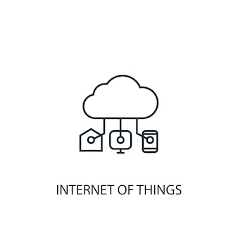 Icône de ligne de concept internet des objets. illustration d'élément simple. conception de symbole de contour de concept d'internet des objets. peut être utilisé pour l'interface utilisateur/ux web et mobile