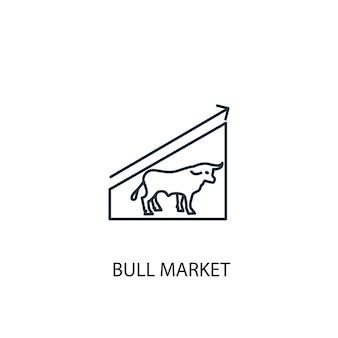 Icône de ligne de concept de marché haussier. illustration d'élément simple. conception de symbole de contour de concept de marché haussier. peut être utilisé pour l'interface utilisateur/ux web et mobile
