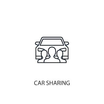 Icône de ligne de concept de partage de voiture. illustration d'élément simple. conception de symbole de contour de concept de partage de voiture. peut être utilisé pour l'interface utilisateur/ux web et mobile