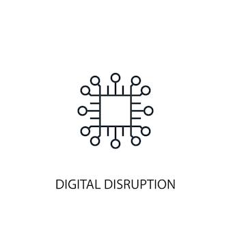 Icône de ligne de concept de perturbation numérique. illustration d'élément simple. conception de symbole de contour de concept de perturbation numérique. peut être utilisé pour l'interface utilisateur/ux web et mobile