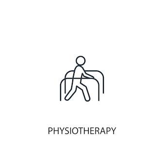 Icône de ligne de concept de physiothérapie. illustration d'élément simple. conception de symbole de contour de concept de physiothérapie. peut être utilisé pour l'interface utilisateur/ux web et mobile