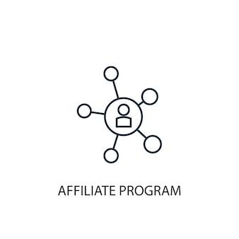 Icône de ligne de concept de programme d'affiliation. illustration d'élément simple. conception de symbole de contour de concept de programme d'affiliation. peut être utilisé pour l'interface utilisateur/ux web et mobile