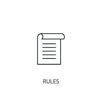 Icône de ligne de concept de règles. illustration d'élément simple. conception de symbole de contour de concept de règles. peut être utilisé pour l'interface utilisateur/ux web et mobile