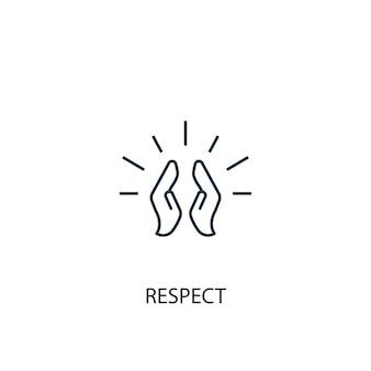 Icône de ligne de concept de respect. illustration d'élément simple. respecter la conception de symbole de contour de concept. peut être utilisé pour l'interface utilisateur/ux web et mobile