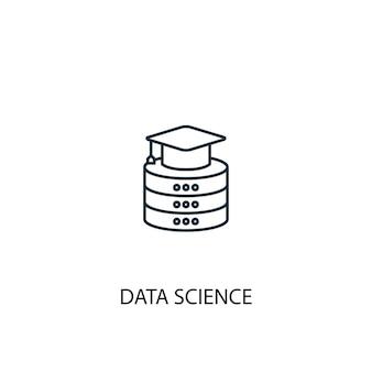 Icône de ligne de concept de science des données. illustration d'élément simple. conception de symbole de contour de concept de science des données. peut être utilisé pour l'interface utilisateur/ux web et mobile