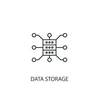 Icône de ligne de concept de stockage de données. illustration d'élément simple. conception de symbole de contour de concept de stockage de données. peut être utilisé pour l'interface utilisateur/ux web et mobile