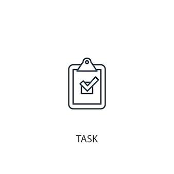 Icône de ligne de concept de tâche. illustration d'élément simple. conception de symbole de contour de concept de tâche. peut être utilisé pour l'interface utilisateur/ux web et mobile