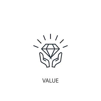 Icône de ligne de concept de valeur. illustration d'élément simple. conception de symbole de contour de concept de valeur. peut être utilisé pour l'interface utilisateur/ux web et mobile