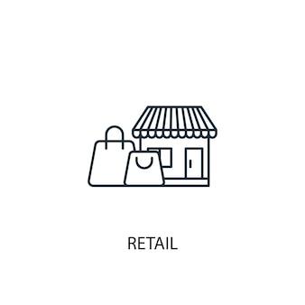 Icône de ligne de concept de vente au détail. illustration d'élément simple. conception de symbole de contour de concept de vente au détail. peut être utilisé pour l'interface utilisateur/ux web et mobile