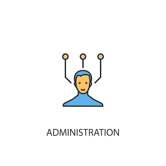 Icône de ligne de couleur du concept d'administration 2. illustration simple d'élément jaune et bleu. conception de symbole de contour de concept d'administration