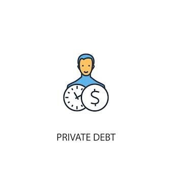 Icône de ligne de couleur du concept de dette privée 2. illustration simple d'élément jaune et bleu. conception de symbole de contour de concept de dette privée