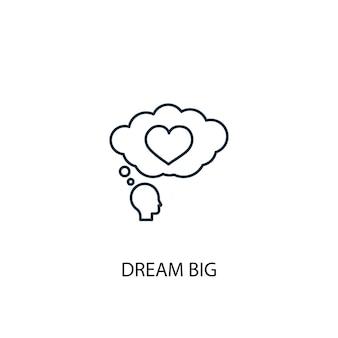Icône de ligne de grand concept de rêve. illustration d'élément simple. rêver grand concept de conception de symbole de contour. peut être utilisé pour l'interface utilisateur/ux web et mobile