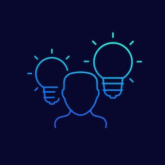 Icône de ligne idée ou aperçu, vecteur