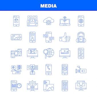 Icône de la ligne de média: mobile, cellule, monde, internet, mobile, cellule, téléphone, mail, pictogramme