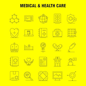 Icône de ligne médicale et de soins de santé