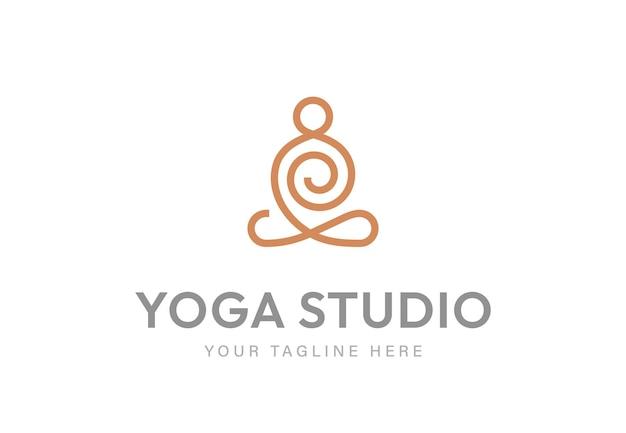 Icône de ligne de méditation logo linéaire humain abstrait yoga monoline