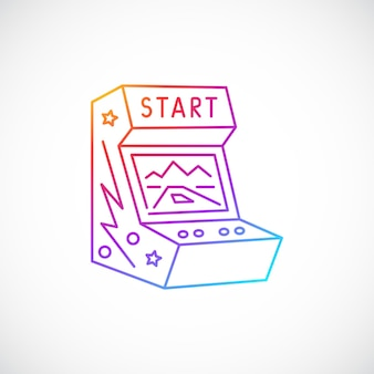 Icône de ligne multicolore de machine de jeu d'arcade