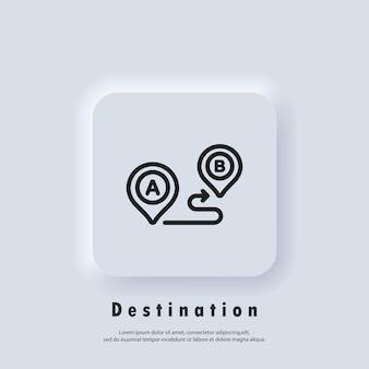 Icône de ligne de navigation de voyage. suivre la distance. icône de destination. emplacement de l'itinéraire. emplacement de la carte. vecteur eps 10. icône de l'interface utilisateur. bouton web de l'interface utilisateur blanc neumorphic ui ux. neumorphisme