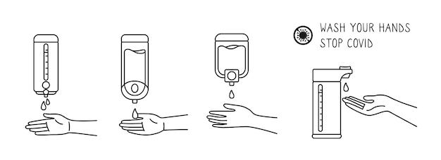 Icône ligne noire lavage des mains, mur de désinfectant