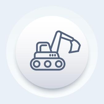 Icône de ligne de pelle, véhicule de construction