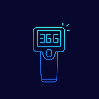 Icône de ligne pistolet thermomètre infrarouge, vecteur