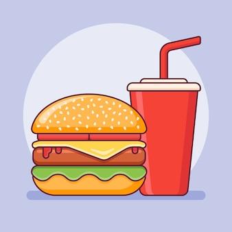 Icône de ligne plate à emporter burger et soda. fast food.