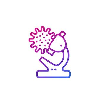 Icône de ligne de recherche de virus avec microscope