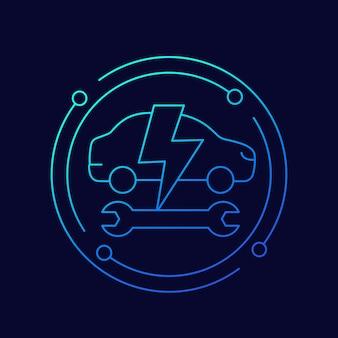 Icône de ligne de service de voiture électrique, vecteur